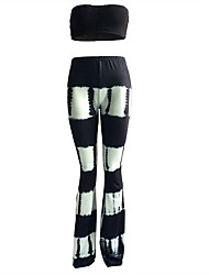 Women's Plus Size / Club Sexy / Vintage Summer / Fall Tank Top PantPrint Strapless Sleeveless Black Spandex Medium set