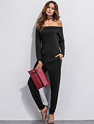 Women's Solid Black Slim Thin JumpsuitsSimple / Street chic Boat Neck Long Sleeve