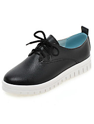 Women's Solid PU Low-heels Round Closed Toe Lace-up Pumps-Shoes