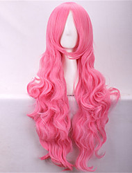 80cm Wig Heat Resistant Synthetic Wigs Cosplay Ombre Pastel Long Curly Oblique Bangs Wig Pink Wigs