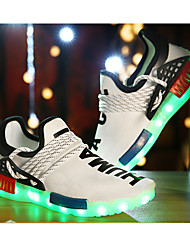 Jungen-Sneaker-Sportlich-Tüll-Flacher Absatz-Komfort Light Up Schuhe-Schwarz Weiß
