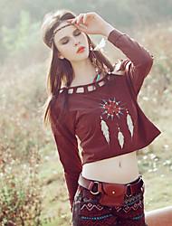 Aporia.As® Femme Col Arrondi Manche Longues T-shirt Bourgogne-MZ03017