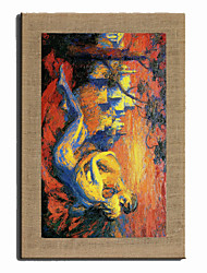 Oil Painting Modern Abstract Kissing Couples  Hand Painted Natural Linen With Stretched Frame