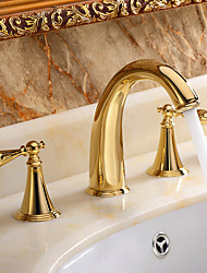 Contemporary  Widespread with  Ceramic Valve Two Handles Three Holes for  Ti-PVD  Bathtub Faucet / Bathroom Sink