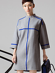 occasionnel / journalier simple genou support dresssolid lâche manchon blanc / gris room404 des femmes