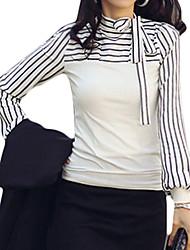 Damen Gestreift Einfach Lässig/Alltäglich T-shirt,Rundhalsausschnitt Frühling / Herbst Langarm Weiß / Schwarz Polyester Mittel