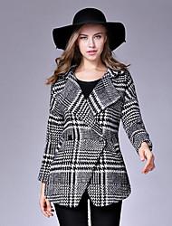 Manteau Aux femmes,Pied-de-poule Décontracté / Quotidien Chic de Rue Manches Longues Revers Cranté Noir Laine Moyen Automne / Hiver