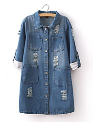 Women's Plus Size Going out Vintage  Denim Jackets,Solid Shirt Collar Long Sleeve Blue