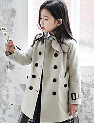 Girl's Casual/Daily Solid Trench CoatCotton Fall Gray
