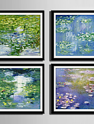 E-HOME® Framed Canvas Art, Lotus Pond Framed Canvas Print One Pcs