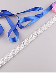 Satin Wedding / Party/ Evening / Dailywear Sash-Beading / Imitation Pearl Women's 98 in(250cm) Beading / Imitation Pearl