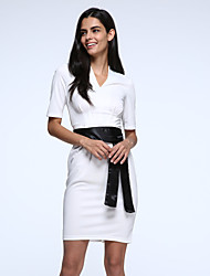 vintage eleganten Business Casual Halbhülse Kleid Frauen