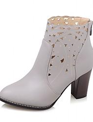 Для женщин Обувь на каблуках В ковбойском стиле Армейские ботинки Синтетика Лакированная кожа Дерматин Весна Осень ЗимаСвадьба
