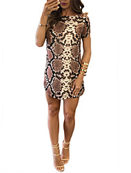 Women's Going out / Party/Cocktail Sexy Sheath DressFloral / Print Round Neck Above Knee Short Sleeve Gold Polyester