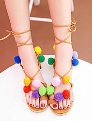 Черный-Женский-Для прогулок-Материал на заказ клиента-На плоской подошве-Удобная обувь-Сандалии