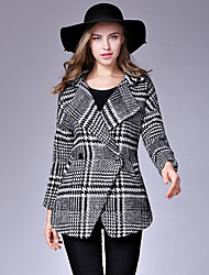 Women's Casual/Daily Street chic Pea CoatsHoundstooth Notch Lapel Long Sleeve Winter Black Wool / Cotton Thick