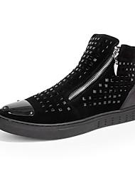 Men's Flats Spring / Fall Comfort / Round Toe Fabric / Glitter Outdoor / Casual Flat Heel Rivet Black Walking