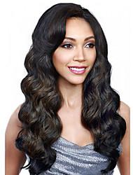 top mejor venta naturales negro ondulado largo cuerpo pelucas sintéticas mujeres pelo pelucas sintéticas