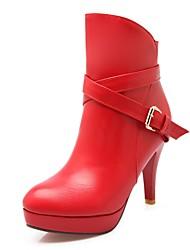Feminino-Saltos-Plataforma Botas de Cowboy Botas de Neve Botas Montaria Botas da Moda-Salto Agulha Plataforma-Preto Vermelho Cinza-