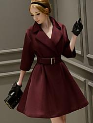 dabuwawa mulheres saindo formal / / feriado do vintage / bonito casaco / sofisticado, sólida gola peter pan ½ comprimento da manga