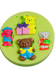 4 Teddy Bears Baby Silicone Fondant Mold Cake Decoration Sugarcraft Tools Polymer Clay Fimo Chocolate Candy Soap Making