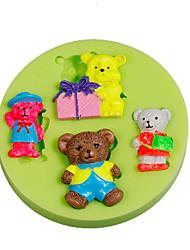 4 ours en peluche bébé silicone fondant moule décoration de gâteau outils de sucre outils polymère argile fimo faire colorier aléatoire