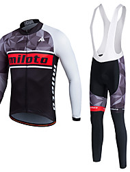 Miloto Cycling Jersey with Bib Tights Men's Unisex Long Sleeve BikePants/Trousers/Overtrousers Tracksuit Jersey Tights Bib Tights Tops