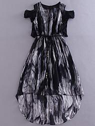 Boutique S Women's Work Chinoiserie Loose DressColor Block Round Neck Knee-length / Asymmetrical Short Sleeve