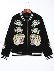 Women's Casual/Daily Chinoiserie Fall JacketsEmbroidered Round Neck Long Sleeve Black Cotton Medium