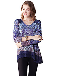 Women's Casual/Daily Simple Spring / Fall BlouseFloral Round Neck Long Sleeve Purple Polyester / Spandex Thin