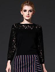 frmz sair médio sofisticado primavera / outono t-shirtsolid em torno do pescoço manga curta rayon preto / nylon