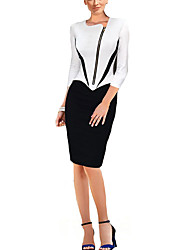 Women's Work Simple Sheath DressPatchwork Asymmetrical Knee-length  Sleeve  Polyester Fall Micro-elastic Medium