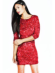 Women's Party/Cocktail Sexy / Sophisticated Bodycon DressSolid Crew Neck Above Knee  Sleeve Red Polyester Summer