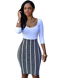 Women's Half Sleeve O Neck Skirt Patchwork Bodycon Dress