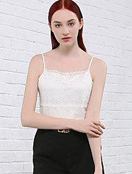 I'HAPPY Women's Casual/Daily Simple Summer Tank TopSolid Strap Sleeveless White / Black