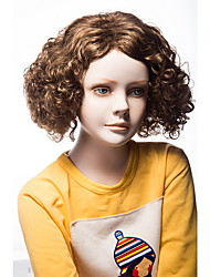 Brown Color Kinky Curly European Synthetic Wigs For Afro Women