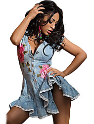 Women's Lace Scalloped Button Down Denim Mini Dress