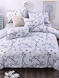 bedtoppings cachecol 4pcs duvet cover quilt definir o tamanho da rainha folha fronha plana flor cinzenta impressões microfibra
