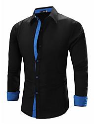 Men's Solid Work / Formal Shirt,Linen Long Sleeve Black / Blue / White