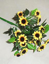 1 1 Ast Polyester Sonnenblumen Tisch-Blumen Künstliche Blumen 18cm