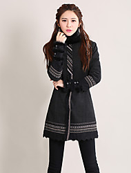 Our Story Women's Going out Vintage CoatPaisley Stand Long Sleeve Winter Black Cotton / Polyester Thick