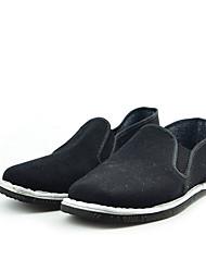 Herren-Flache Schuhe-Lässig-Baumwolle-Flacher Absatz-Komfort-Schwarz