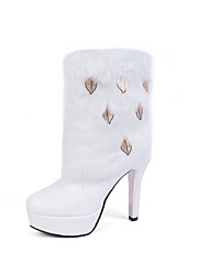 Women's Boots Fall / Winter Fashion Boots  Casual Stiletto Heel Fur Black / White Others