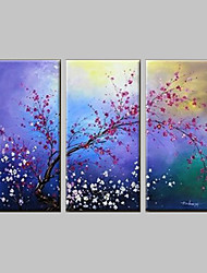 Hand-Painted Floral/Botanical 100% Hang-Painted Oil Painting,Classic / Modern Three Panels Canvas Oil Painting For Home Decoration