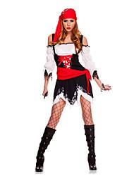 Fantasias Pirata Dia Das Bruxas Vermelho, Branco e Preto Cor Única Terylene Blusa / Saia / Calças / Cinto / Correia / Decoração de Cabelo