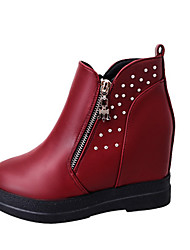 Women's Boots Fall / Winter Fashion Boots Leatherette Outdoor / Casual Wedge Heel Beading / Zipper