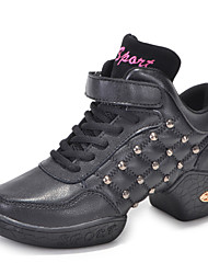 Women's Dance Shoes Sneakers Breathable Leather Low Heel Black