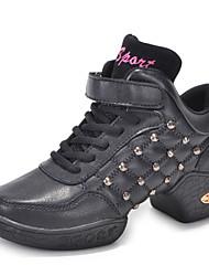 Chaussures de danse(Noir) -Non Personnalisables-Talon Bas-Cuir-Moderne
