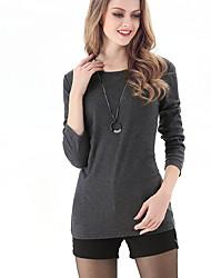LUTING® Damen Rundhalsausschnitt Lange Ärmel T-Shirt Schwarz / Grau-6039