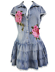 Women's Lace Scalloped Button Down Denim Mini Dress